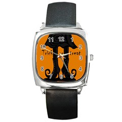 Halloween   Witch Boots Square Metal Watch by Valentinaart