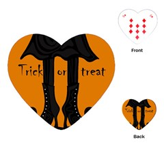 Halloween   Witch Boots Playing Cards (heart)  by Valentinaart