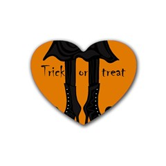 Halloween   Witch Boots Heart Coaster (4 Pack)  by Valentinaart