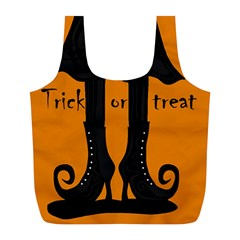 Halloween   Witch Boots Full Print Recycle Bags (l)  by Valentinaart