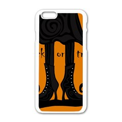 Halloween   Witch Boots Apple Iphone 6/6s White Enamel Case by Valentinaart