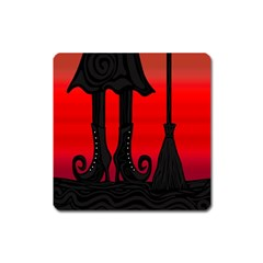 Halloween Black Witch Square Magnet by Valentinaart