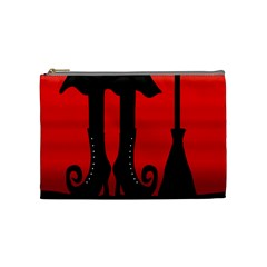Halloween Black Witch Cosmetic Bag (medium)  by Valentinaart