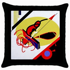 Abstract Art Throw Pillow Case (black) by Valentinaart