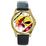 Abstract art Round Gold Metal Watch Front