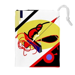 Abstract Art Drawstring Pouches (extra Large) by Valentinaart