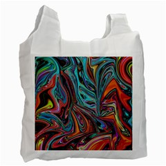 Brilliant Abstract In Blue, Orange, Purple, And Lime Green  Recycle Bag (two Side)  by digitaldivadesigns