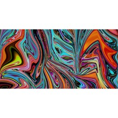Brilliant Abstract In Blue, Orange, Purple, And Lime Green  You Are Invited 3d Greeting Card (8x4)