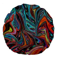 Brilliant Abstract In Blue, Orange, Purple, And Lime Green  Large 18  Premium Flano Round Cushions by digitaldivadesigns