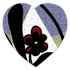 Black Flower Jigsaw Puzzle (heart) by Valentinaart