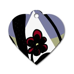 Black Flower Dog Tag Heart (two Sides) by Valentinaart