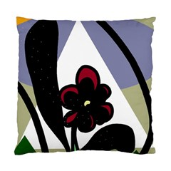 Black Flower Standard Cushion Case (two Sides) by Valentinaart