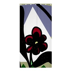 Black Flower Shower Curtain 36  X 72  (stall)  by Valentinaart