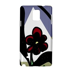 Black Flower Samsung Galaxy Note 4 Hardshell Case by Valentinaart