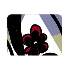 Black Flower Double Sided Flano Blanket (mini)  by Valentinaart