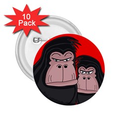 Gorillas 2 25  Buttons (10 Pack)  by Valentinaart