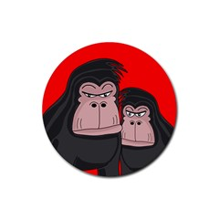 Gorillas Rubber Coaster (round)  by Valentinaart