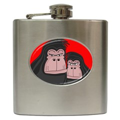 Gorillas Hip Flask (6 Oz) by Valentinaart