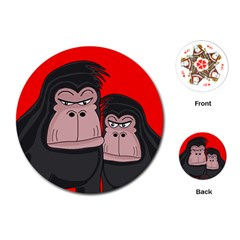 Gorillas Playing Cards (round)  by Valentinaart