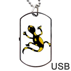Lizard Dog Tag Usb Flash (two Sides)  by Valentinaart
