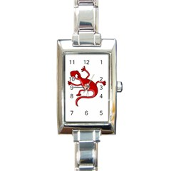 Red Lizard Rectangle Italian Charm Watch by Valentinaart