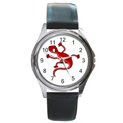 Red Lizard Round Metal Watch by Valentinaart