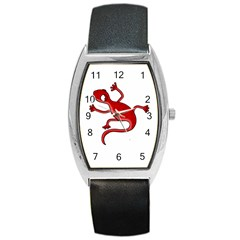 Red Lizard Barrel Style Metal Watch by Valentinaart