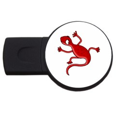 Red Lizard Usb Flash Drive Round (4 Gb)  by Valentinaart