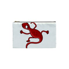 Red Lizard Cosmetic Bag (small)  by Valentinaart