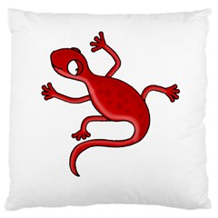 Red Lizard Large Cushion Case (one Side) by Valentinaart