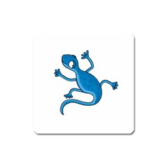 Blue Lizard Square Magnet by Valentinaart