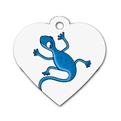 Blue Lizard Dog Tag Heart (one Side) by Valentinaart