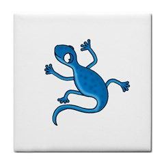 Blue Lizard Face Towel by Valentinaart