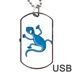 Blue Lizard Dog Tag Usb Flash (two Sides)  by Valentinaart