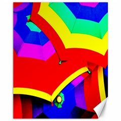 Umbrella Color Red Yellow Green Blue Purple Canvas 11  X 14
