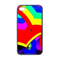 Umbrella Color Red Yellow Green Blue Purple Apple Iphone 4 Case (black)
