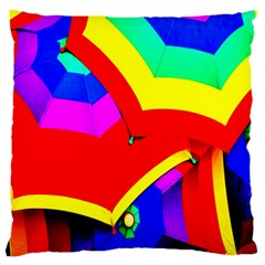 Umbrella Color Red Yellow Green Blue Purple Large Flano Cushion Case (two Sides)