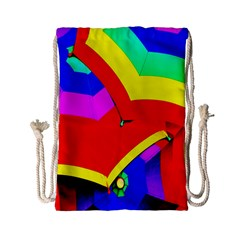 Umbrella Color Red Yellow Green Blue Purple Drawstring Bag (small) by AnjaniArt