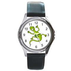 Green Lizard Round Metal Watch by Valentinaart