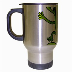 Green Lizard Travel Mug (silver Gray) by Valentinaart
