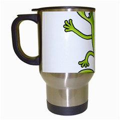 Green Lizard Travel Mugs (white) by Valentinaart