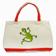 Green Lizard Classic Tote Bag (red) by Valentinaart
