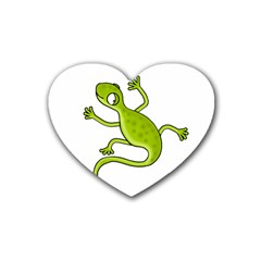 Green Lizard Rubber Coaster (heart)  by Valentinaart