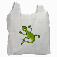 Green Lizard Recycle Bag (two Side)  by Valentinaart
