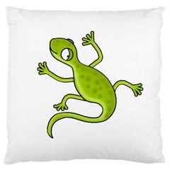 Green Lizard Large Cushion Case (one Side) by Valentinaart