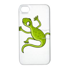 Green Lizard Apple Iphone 4/4s Hardshell Case With Stand by Valentinaart