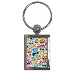 Weird Faces Pattern Key Chains (rectangle)  by AnjaniArt
