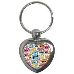 Weird Faces Pattern Key Chains (heart)  by AnjaniArt