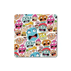 Weird Faces Pattern Square Magnet