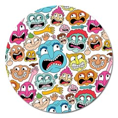Weird Faces Pattern Magnet 5  (round) by AnjaniArt